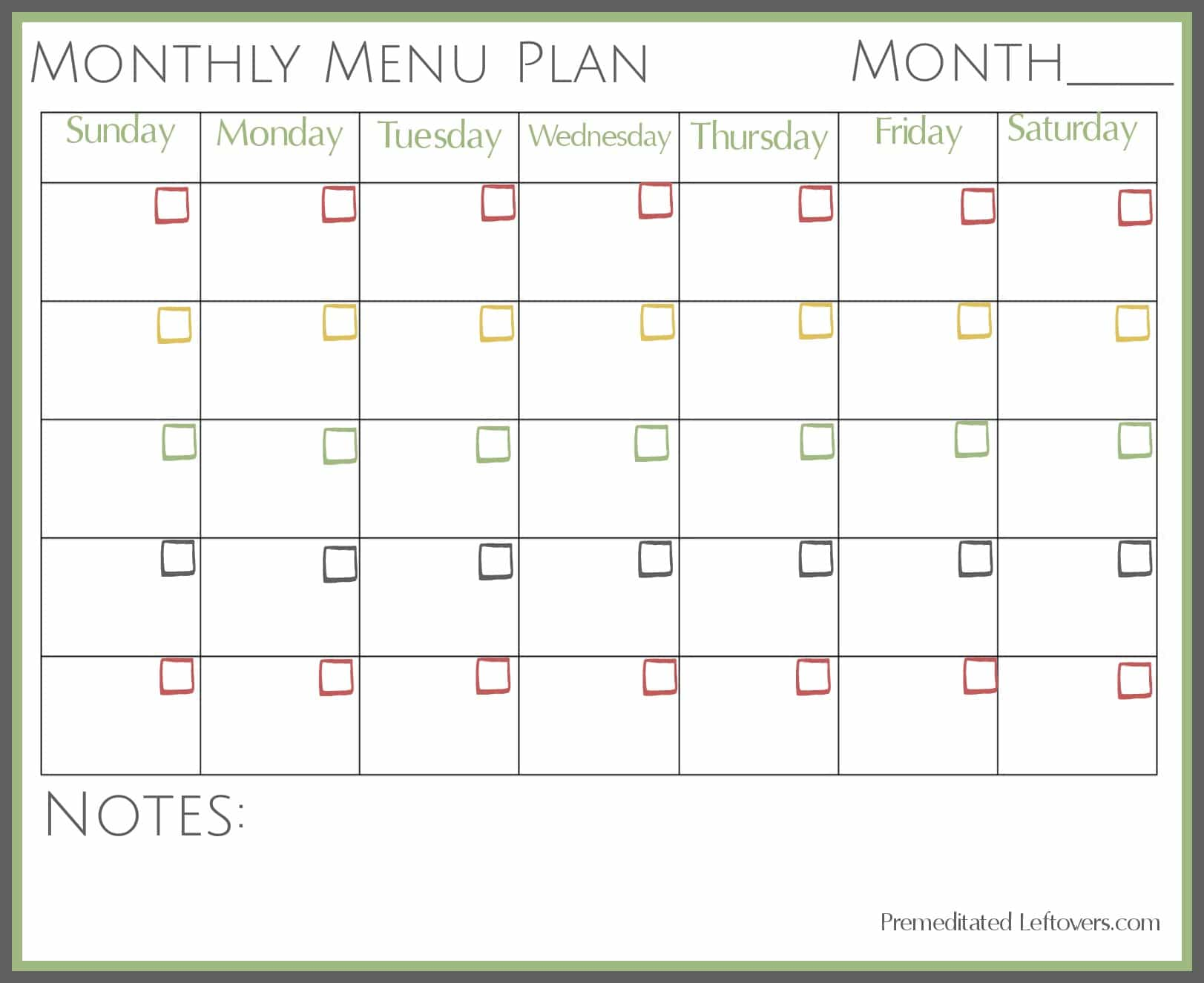 Printable Monthly Menu Plan