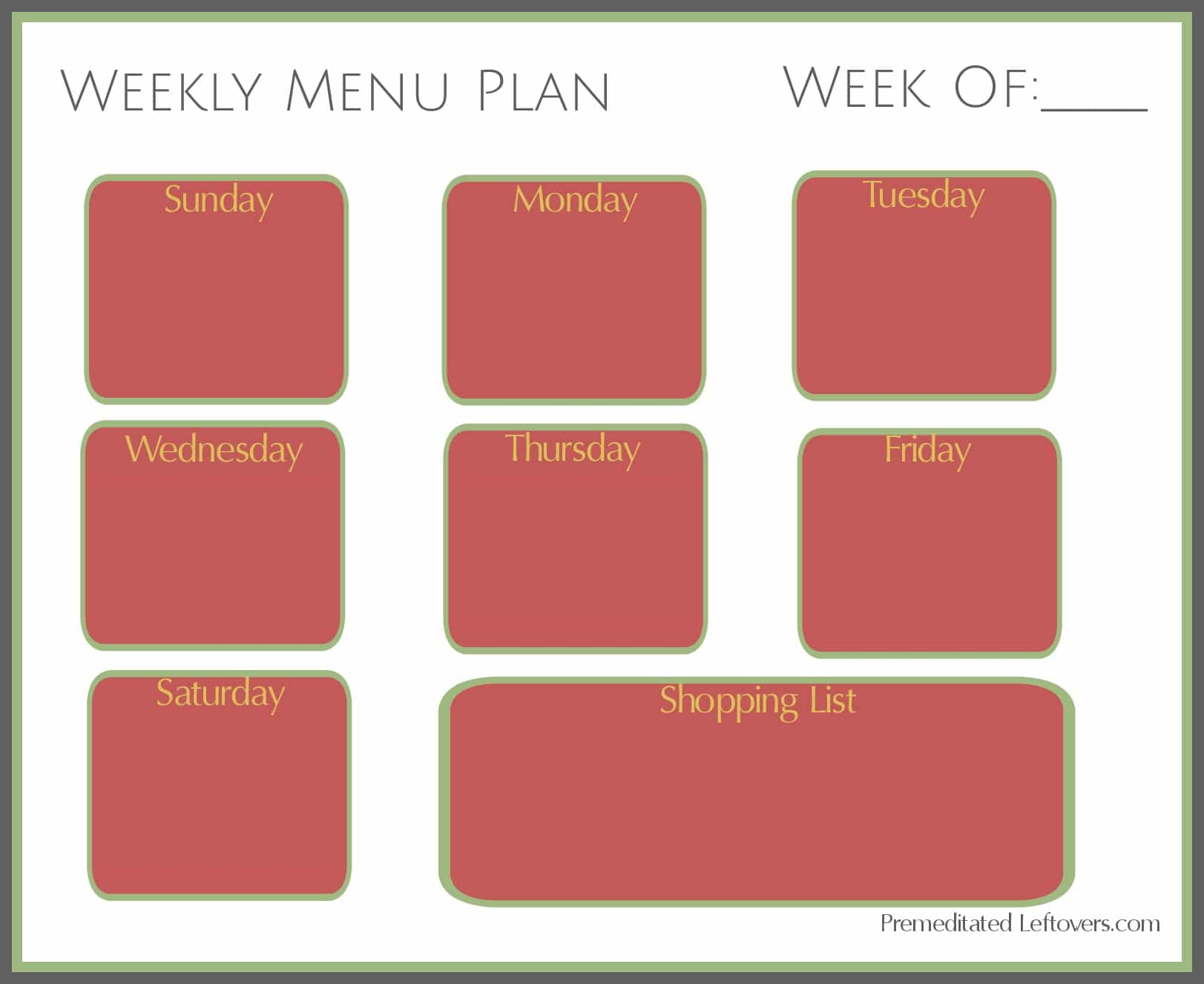 Printable Weekly Menu Plan