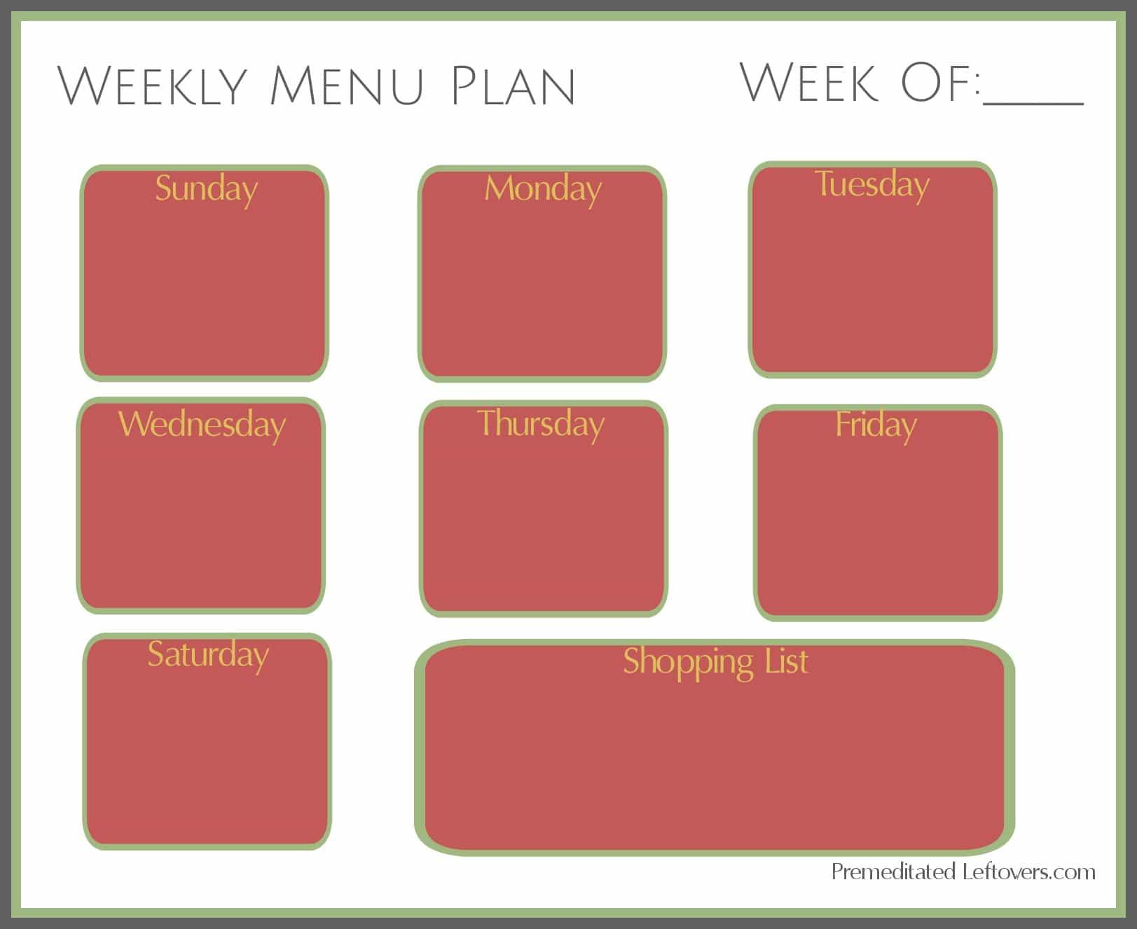 Free Printable Weekly Menu Plan