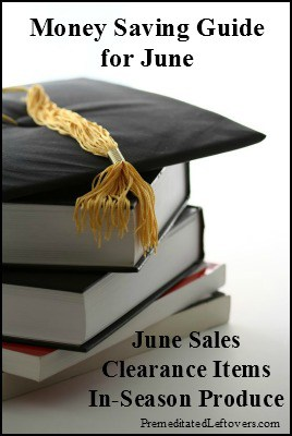 June Money Saving Guide: What to buy in June based on what's on sale or clearance, A list of in-season produce, & ways to save money on summer fun.