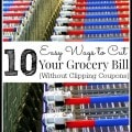10 Easy Ways to Cut Your Food Budget: Ways to save money on groceries without using coupons. Includes tips & strategies to help you reduce your grocery bill.