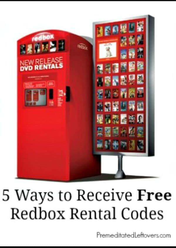 5 Ways to Receive Free Redbox Rental Codes + Free codes. Here is a list of free Redbox rental codes and 5 ways to find free Redbox rental codes to use.
