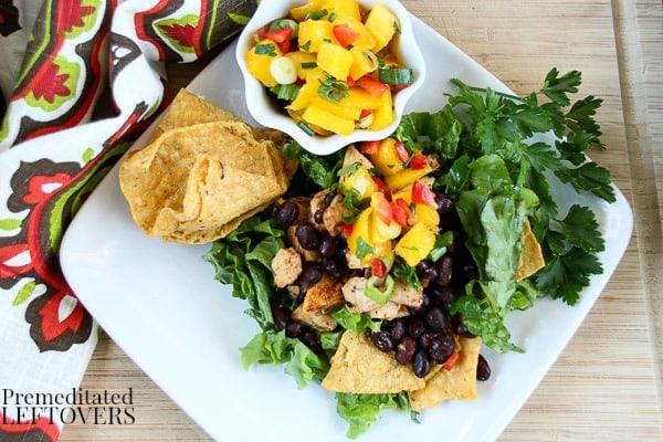 Caribbean Chicken Taco Salad Recipe with Mango Salsa