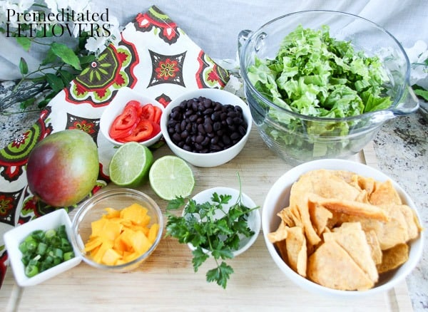 Ingredients for Caribbean Taco Salad Recipe with Mango Salsa