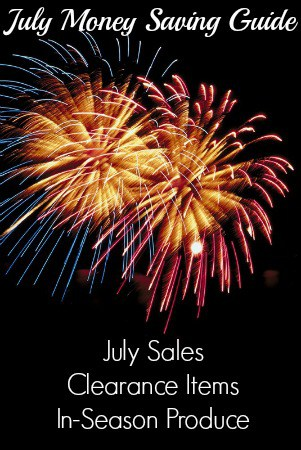 This July Money Saving Guide includes lists of items that are on sales in July, a list of items that you can find on clearance, and in-season produce.
