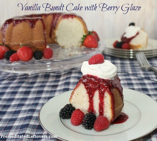 Vanilla Bundt Cake Recipe with Berry Glaze