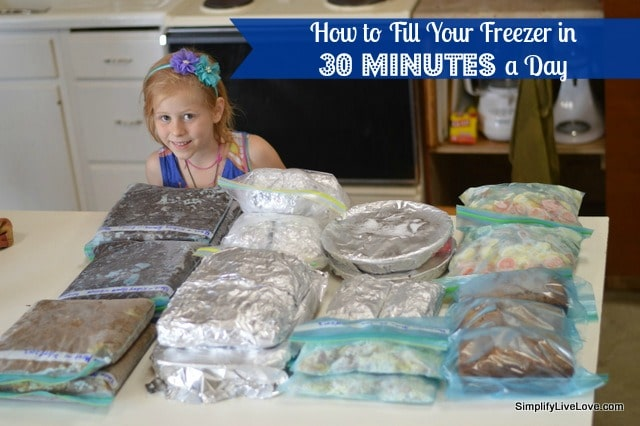 How to fill your freezer in 30 minutes a day - freezer recipes and freezer cooking tips included.