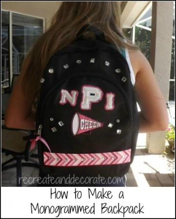How to monogram a backpack - an easy and frugal DIY project