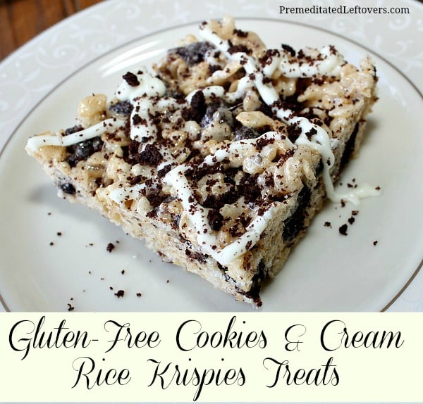A fast and easy recipe for gluten-free cookies and cream rice krispie treats.