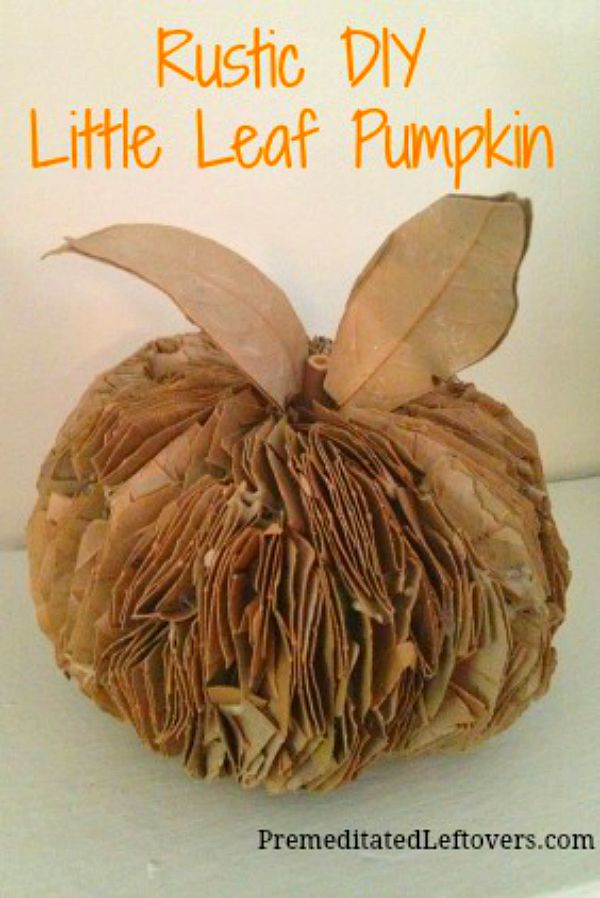 An easy and frugal DIY fall project: Make a pumpkin using fall leaves.This tutorial will show you how to make a Rustic Fall Leaf Pumpkin with dried leaves.