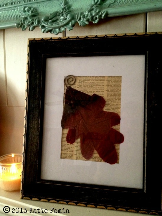 Finished and Displayed Vintage Leaf Art Project for Fall