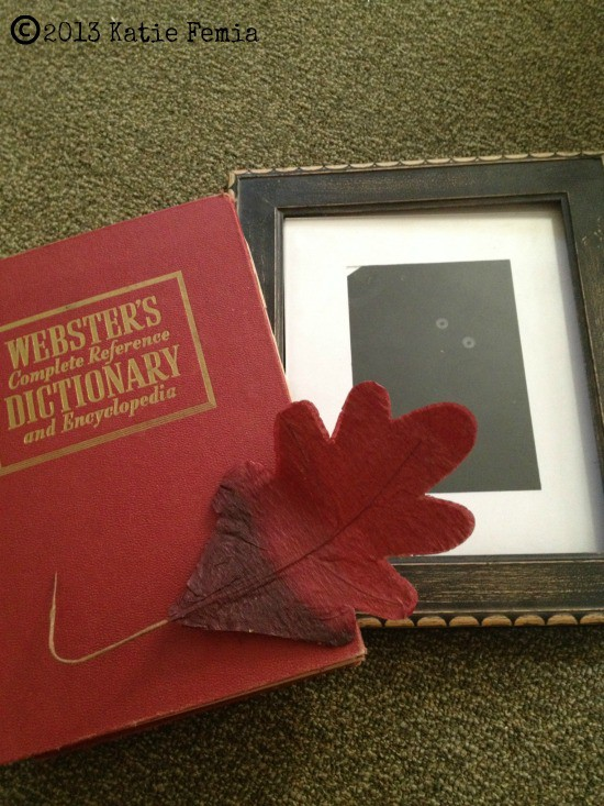 Items needed to make a Frugal Fall DIY: Vintage Leaf Art