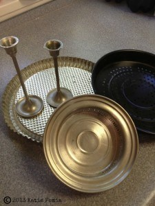 Old platters, dishes, and pie plates can be used to make a 3 tier server