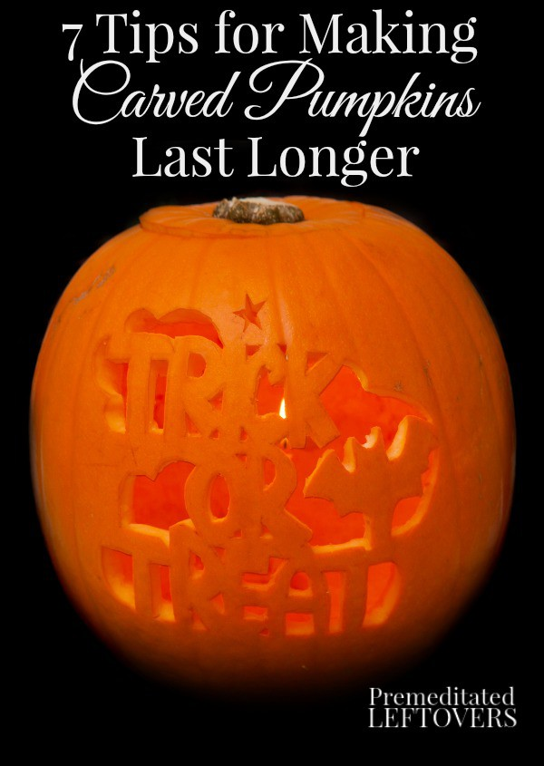 7 Tips for Making Carved Pumpkins Last Longer - Are you carving a pumpkin for Halloween? Here are tips to make your Jack o' Lantern last longer.