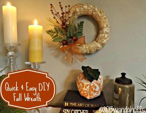 Easy (and frugal) homemade fall wreath using a corn husk wreath