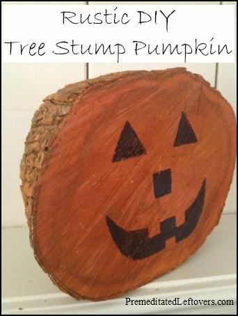 Rustic DIY Tree Stump Pumpkin