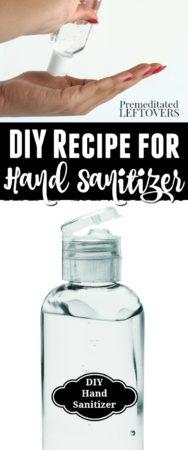 DIY recipe for hand sanitizer using rubbing alcohol and aloe vera gel