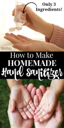 How to make homemade hand sanitizer with rubbing alcohol, aloe vera gel, and tea tree oil.