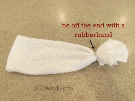 Easy christmas craft snowman made with a sock and rice