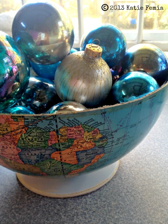 How to upcycle a globe and turn it into a bowl to use in a centerpiece.