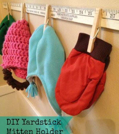DIY Yardstick Mitten Holder