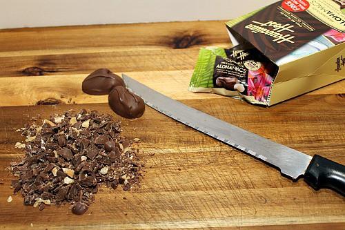 Chopping Hawaiian Host Milk Chocolate AlohaMacs for Pudiing Parfaits