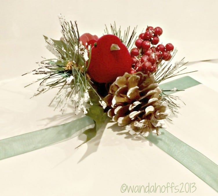 Use a floral pick instead of a bow on Christmas presents