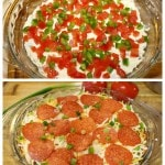 Layered Hot Pizza Dip Recipe: A quick and easy recipe for hot pizza dip made with layers of pizza toppings.