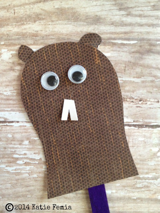 assembling Groundhog's Day Craft for Kids