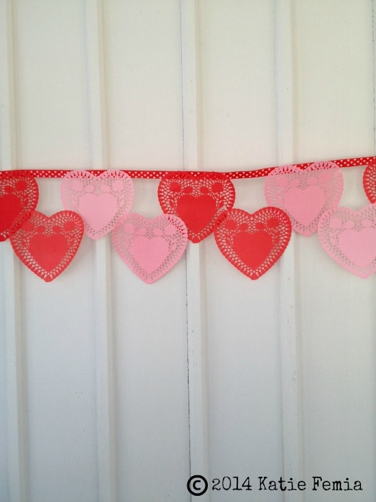 How to make Lace Heart Bunting Banner using items from Dollar Store