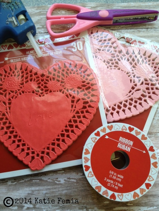 Supplies for Dollar Store DIY: Lace Heart Bunting Banner
