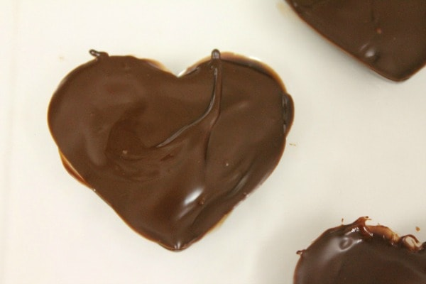 how to make heart truffles - cover truffle filling with chocolate
