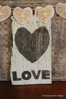 Rustic Love Sign from Barnwood from The Country Chic Cottage  + more Valentine's Decorations to Last All Year