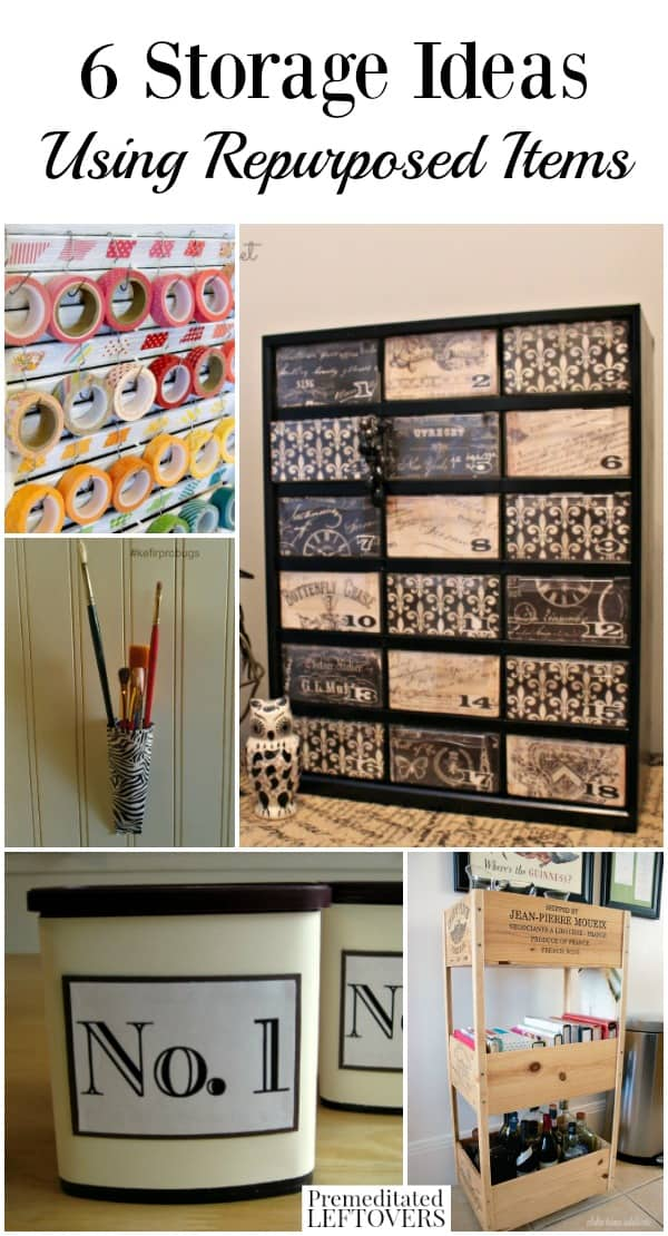storage ideas using repurposed items - frugal organization tips Money Storage Ideas