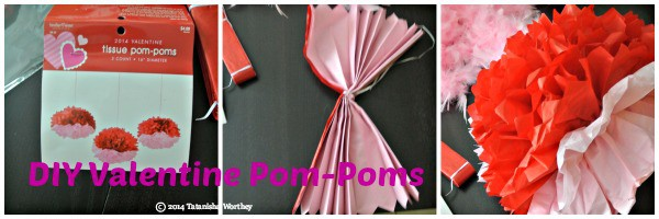 DIY Valentine Pom Poms - Frugal Valentine's Day Table Decor Ideas