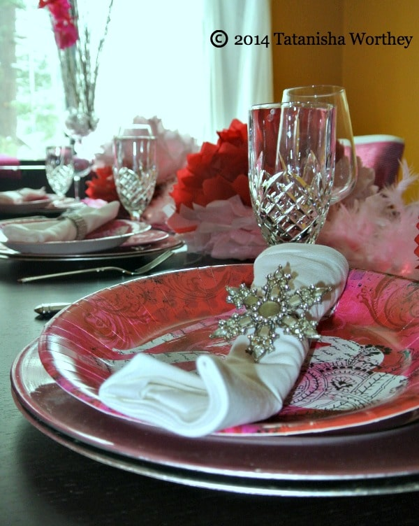 Valentine Day Plate Close up + Frugal Valentine's Day Table Decor Ideas