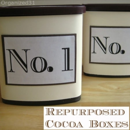 repurposed cocoa cans