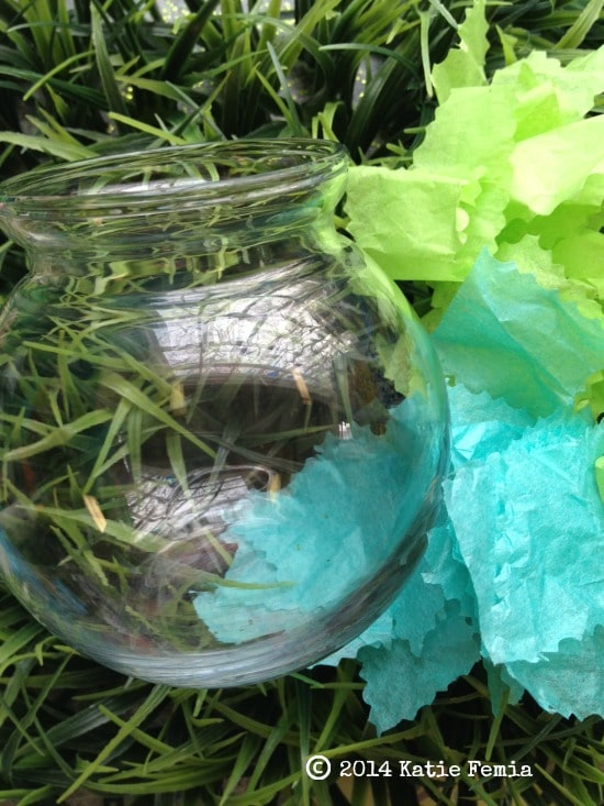 items needed for Earth Day Globe - round vase and tissue paper