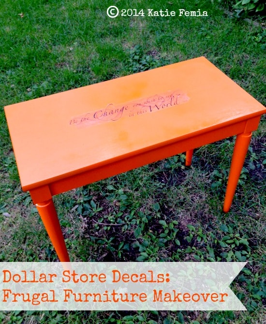 Frugal Furniture Makeover using Dollar Store decals