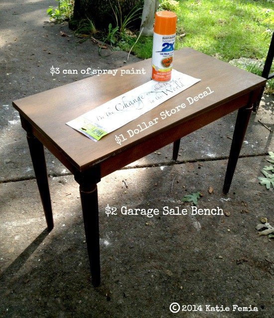 Items needed for a Frugal Furniture Makeover using Dollar Store decals