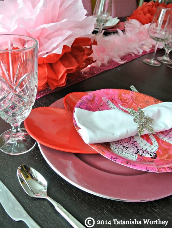 valentine plate closeup + more Frugal Valentine's Day Table Decor Ideas