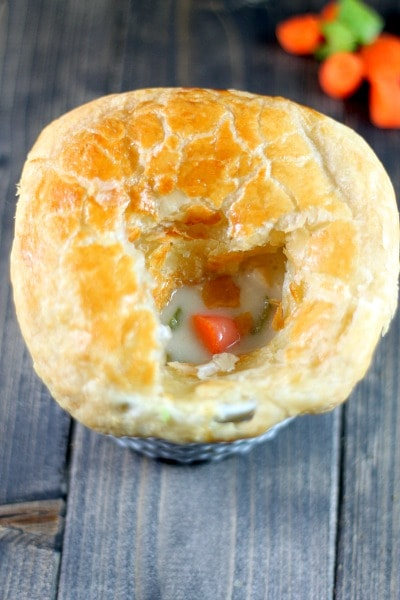 A quick and easy recipe for chicken pot pies with a puff pastry crust.