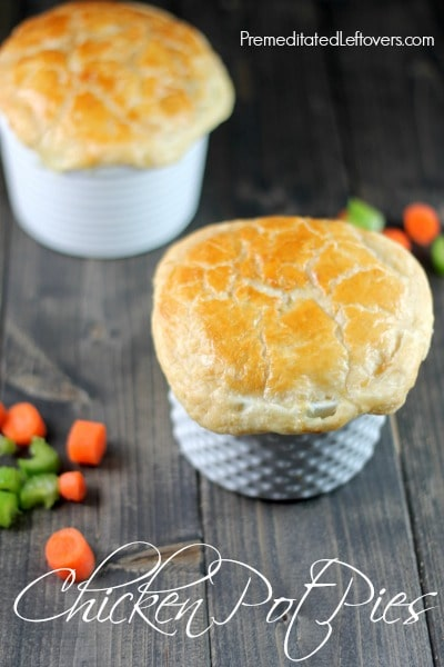 An easy Chicken Pot Pies Recipe. Enjoy this delicious comfort food and make individual chicken pot pies yourself using puff pastry for the crust.