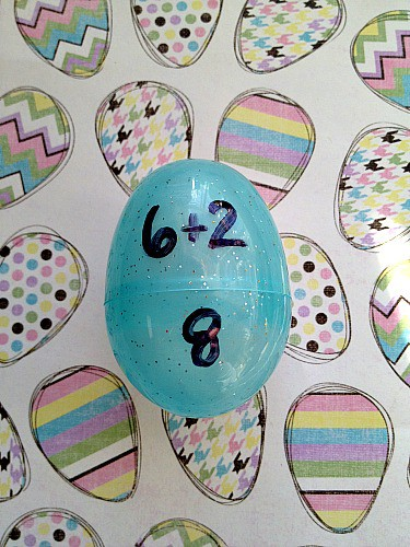 Teach children their addition facts using plastic Easter eggs + More Learning Games Using Easter Eggs