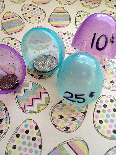 Teach kids to count coins with Plastic Easter Eggs + More Educational Games Using Easter Eggs