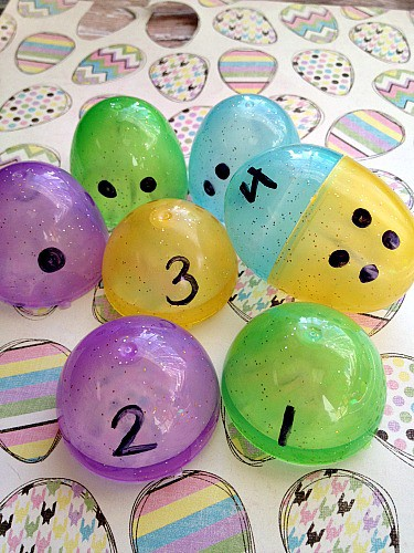 Teach kids to count using plastic Easter eggs + More Educational Games Using Easter Eggs