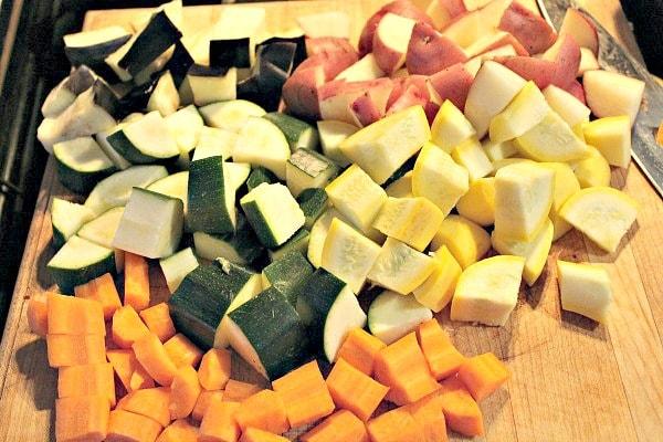 chopped veggies for vegetable gratin
