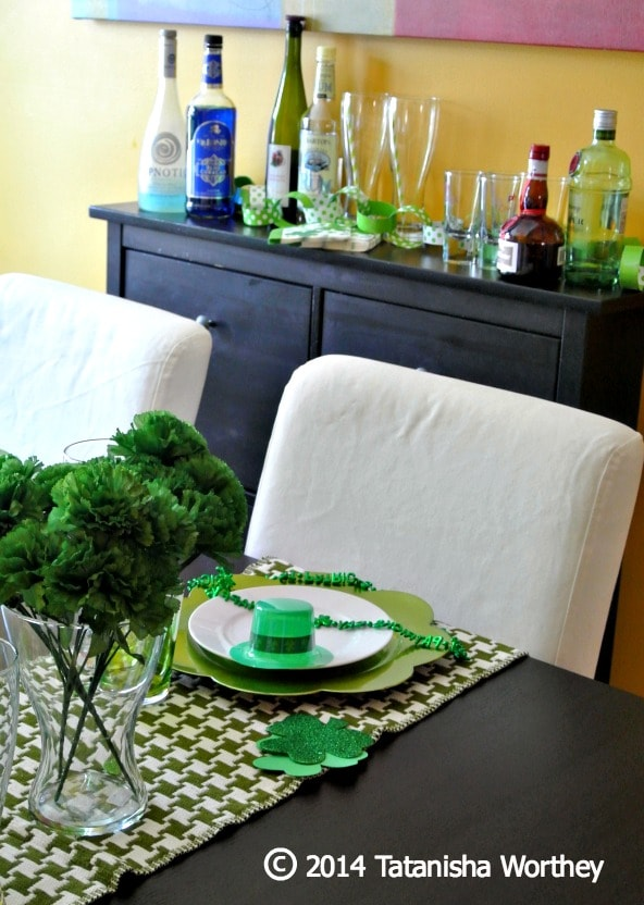 St. Patrick's Day table decor and buffet