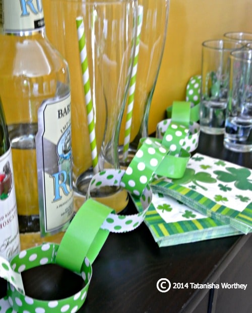 St. Patrick's Day table decor and side bar