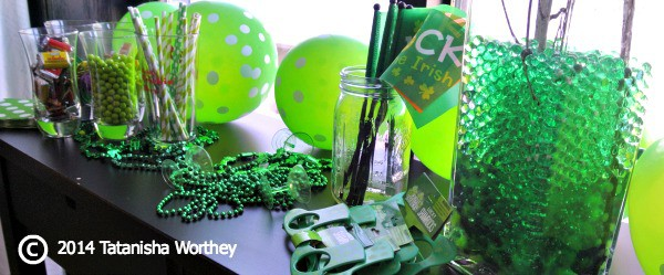 St. Patrick's Day table decor and side table decorations